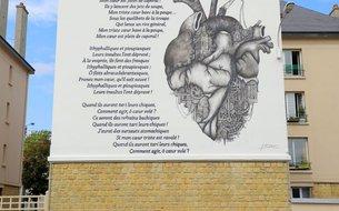 Fresque Le coeur supplicié, rue Louis Fraison
